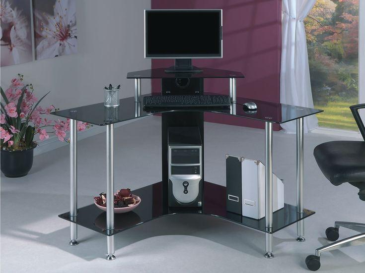 Black Glass Corner Computer Desks