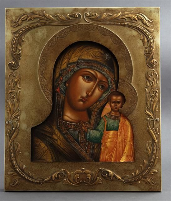 †Russian Icon of the Virgin of Kazan, 19th c., with a gilt s