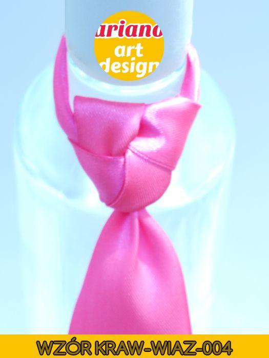 Krawat na butelkę wiązany, wódkę 5 szt zawieszki weselne PL - wzór węzła 004