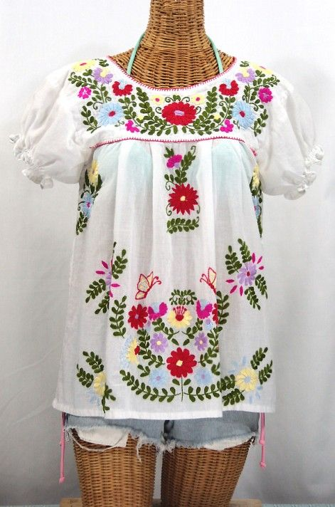 "Even more timeless and more classic! The ""La Mariposa Corta de Color"" Embroidered Mexican Peasant Blouse by Siren in Classic White with Red Trim at SirenSirenSiren.com"