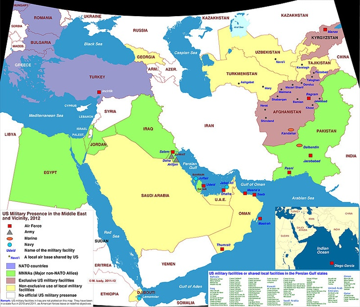 Map Of Us Military Presence In The Middle East 2012