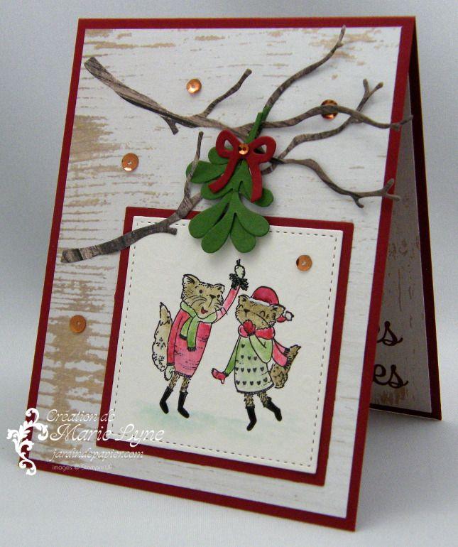 Carte de Noël avec Mistletoe Friends - Scrapbooking   Stampin Up Canada   Cartes de souhaits