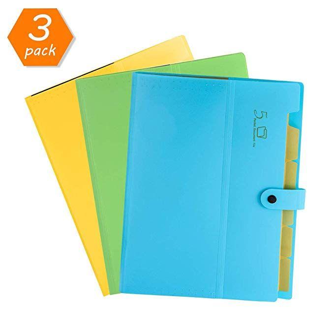 Hc Eco Friendly Plastic Expanding File Folders 5 Pockets Accordion Document Organizer A4 Letter Size Documents Organization Paperwork Storage Friendly Plastic