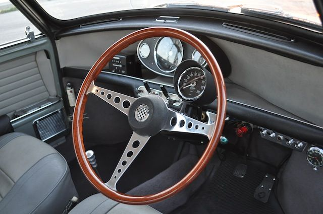 Speedwell Formula Steering wheel and grey interior