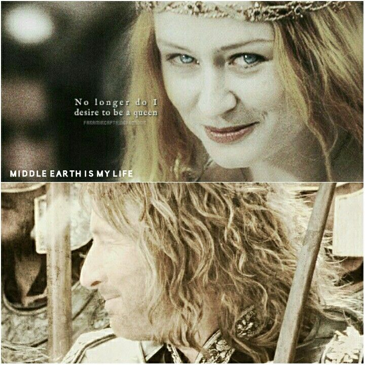 """""""No longer do I desire to be a queen."""" #middleearth #eowyn #faramir #lady #captain #rohan #gondor #quotes #lordoftherings #lotr #mirandaotto #davidweham"""