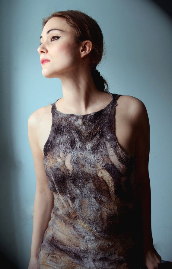 Eco fashion dresses Nuno felted and eco printed dress by vilte