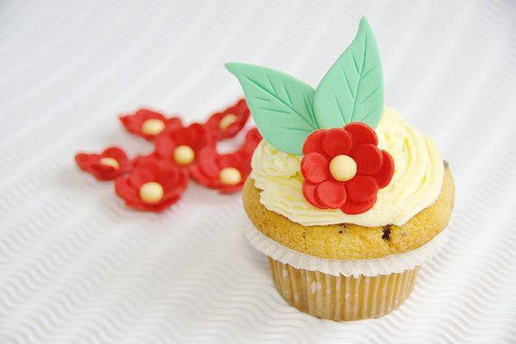 Sugar Flower with Leaves Fondant Flower by SweetCakeByAnastasia