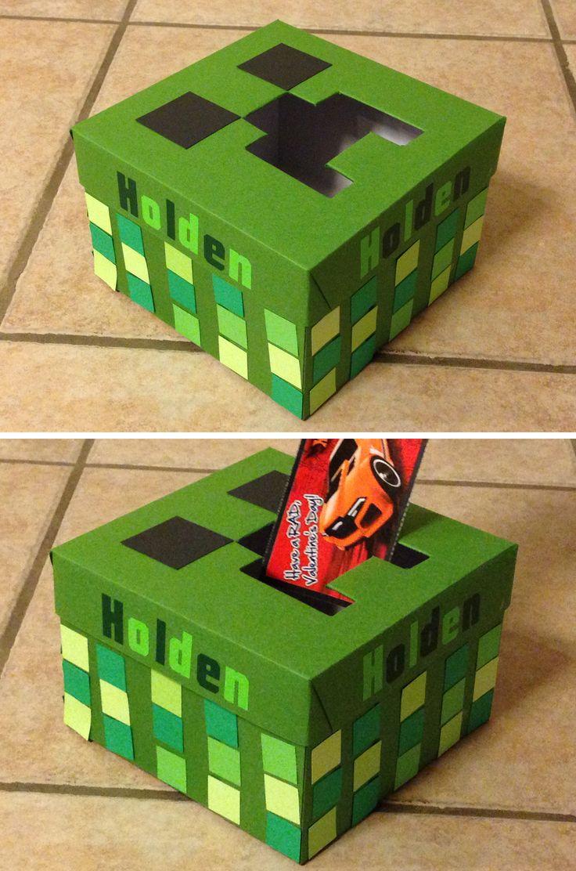 Minecraft creeper Valentine's Box for boys. Valentine's Day craft.