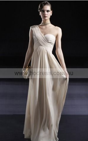 Sleeveless None One Shoulder Floor-length Chiffon Evening Dresses dt00261--Hodress