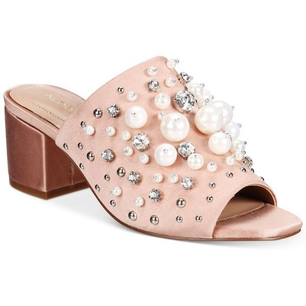 Aldo Women's Pearls Embellished Mules (64 JOD) ❤ liked on Polyvore featuring shoes, light pink, light pink shoes, aldo footwear, decorating shoes, polish shoes and embellished shoes