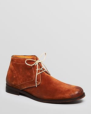 $295, Tobacco Suede Boots: Modern Fiction Suede Chukka Boots. Sold by Bloomingdale's. Click for more info: https://lookastic.com/men/shop_items/121648/redirect