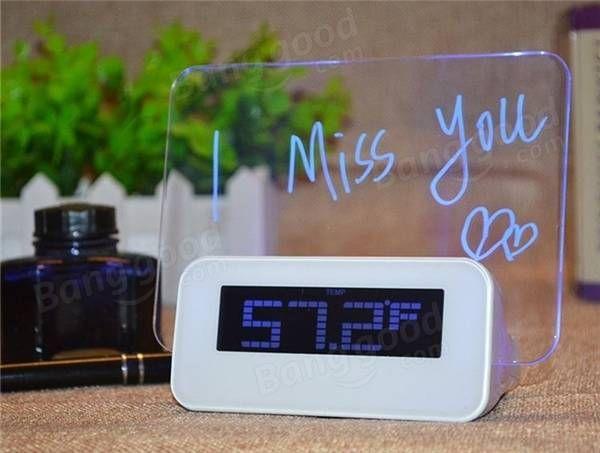 LED Флуоресцентный сообщение мнемодоски календарь термометр сигнализации цифровые часы