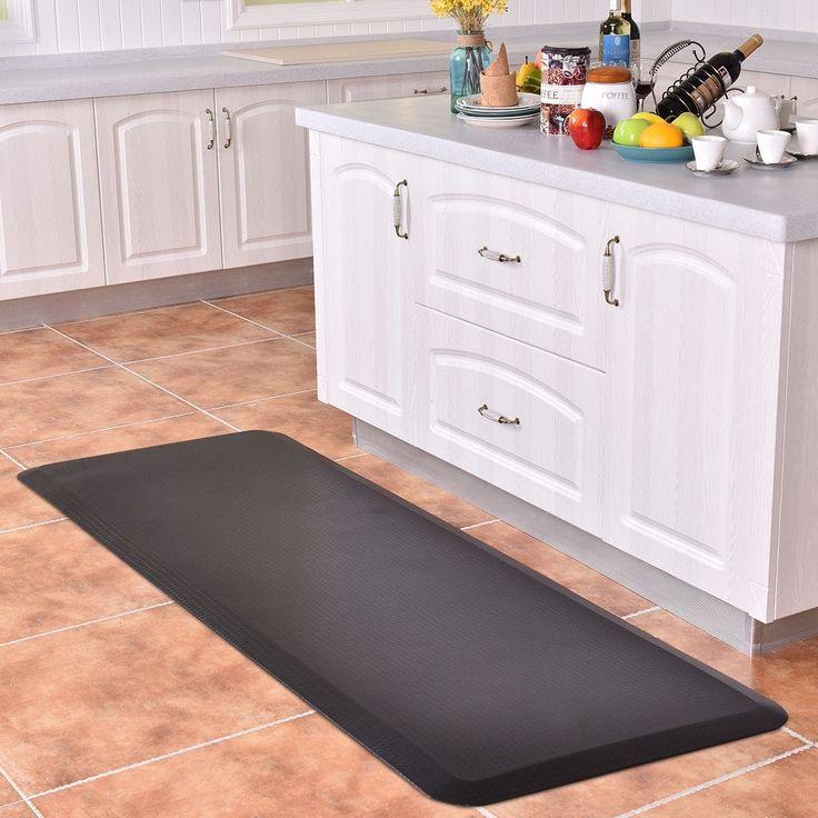 Costway 3/4'' Non-Slip Anti-Fatigue Comfort Mats Floor Mat Kitchen 4 Size Brown And Black