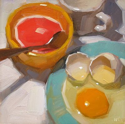 I really enjoy this artist's loose but chunky, flat-brush style.  Her name is Carol Marine and she's from Eugene, OregonFlats Brushes Style, Carol Marines, Oil Paintings, Breakfast Eggcetera, Contemporary Painting, The Artists, Eggs Painting, Brushes Strokes, Painting Style