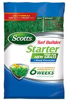 Safe for seeding! Also great for sod and grass plugs 2-in-1 Formula that feeds new grass and prevents weeds Prevents crabgrass & dandelions for up to 6 weeks Grows new grass thicker & quicker versus unfed Recommended as part of the Scotts Lawn Care Plan in Early Spring along with seeding for lawns suffering from weeds.