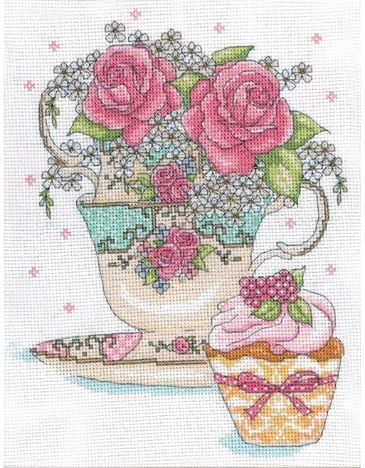 Teacup Roses Cross Stitch Kit - £20.50 on Past Impressions | by Design Works