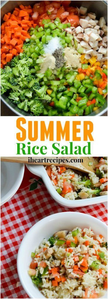 Delicious Summer Rice Salad! This white rice salad is served cold, and made with a combination of delicious chopped vegetables. I love rice salad recipes. Whether it be a cold rice salad with cranberries, or a warm rice salad with peas. /healthy vegan recipes/