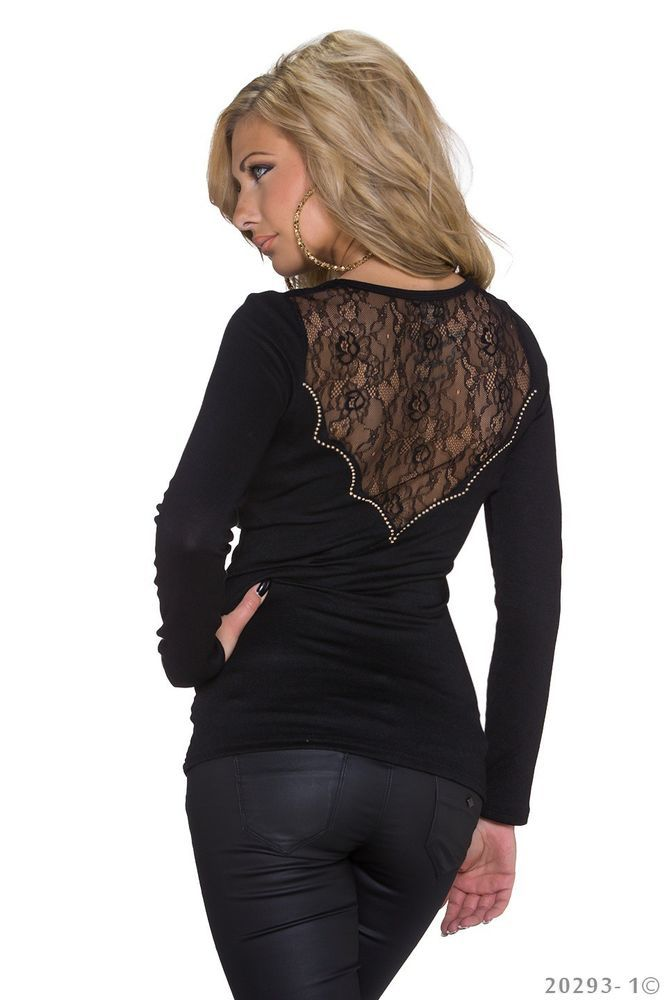 SEXY WOMENS SKINNY FIT SLIM RIBBED TOP WITH BEADED NECK AND LACE BACK SIZE 10 12