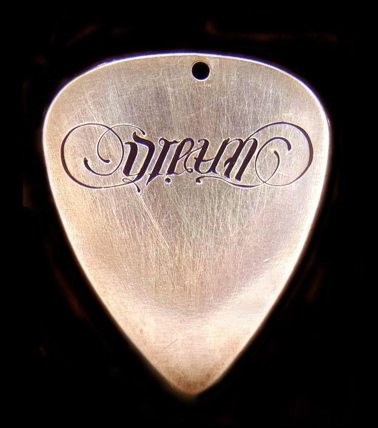 Brass Pendant Ambigram Engraving (Dream/Faith) by James Ehlers https://www.facebook.com/ehlersengraving