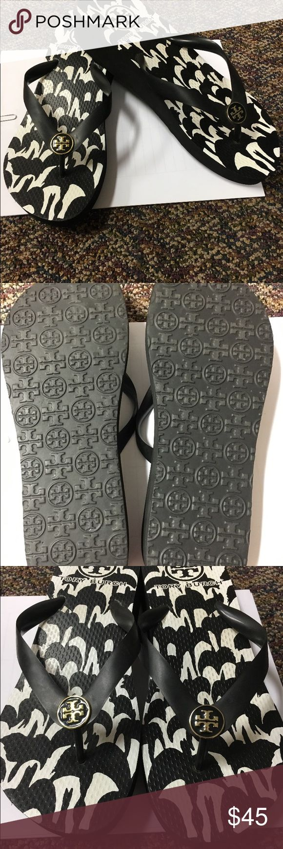 Tory burch wedge flip flops Black and white wedge only worn once Tory Burch Shoes Sandals