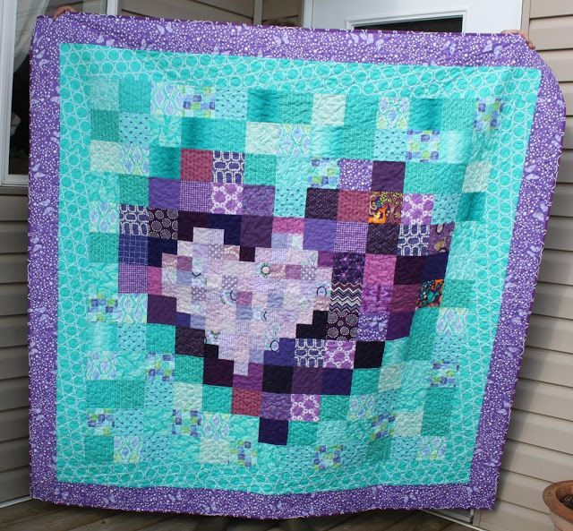 "Daydreams of Quilts: Purple and Turquoise ""Pixel Heart in a Pixel Heart Quilt"" Wedding Gift for my Cousin"
