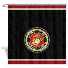 Marine Seal On Black Shower Curtain USMC
