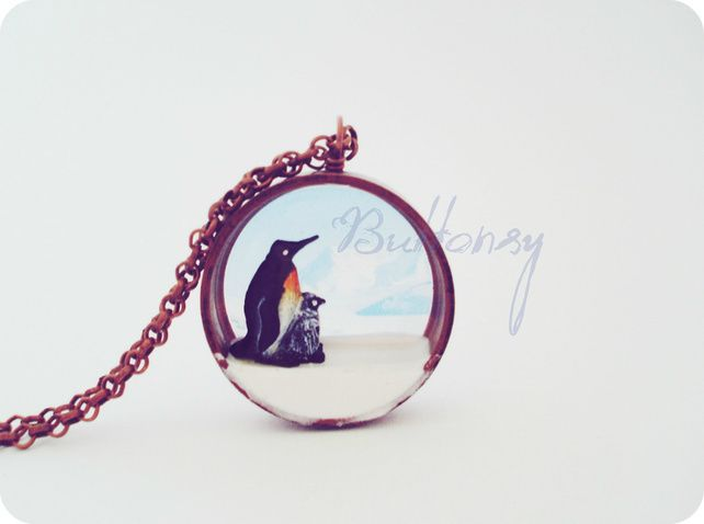 Buttonsy Copper World Penguin Necklace (Folksy) £30.00
