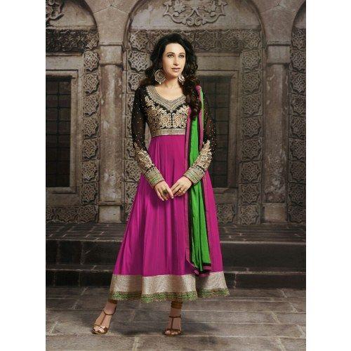 8009_Pink color georgette designer Anarkali suit