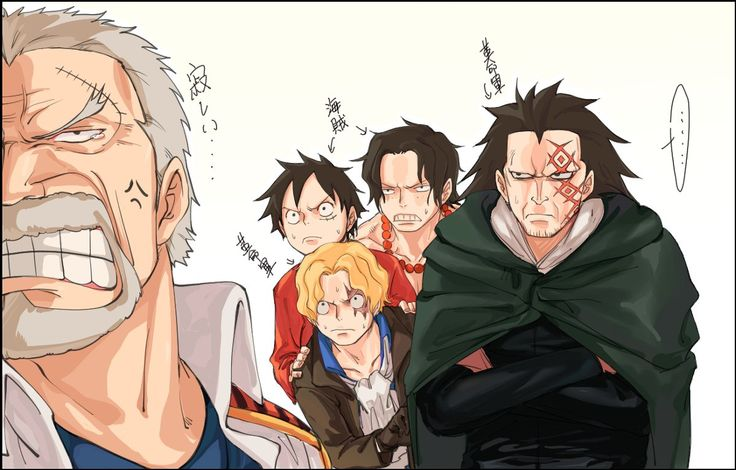 One Piece, Luffy & Ace hiding behind Sabo whos hiding behind Dragon to confront/escape Garp
