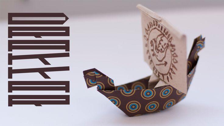 Лодка викингов - драккар из бумаги. Легкие оригами