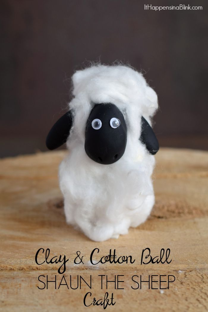 Clay and Cotton Ball Shaun the Sheep Craft  |  AD #ShauntheSheep |  Use clay and cotton balls to make a Shaun the sheep craft for a party or movie night