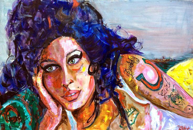 Amy Winehouse. Acrílico 122 x 82 cm. Sobre tabla de madera.