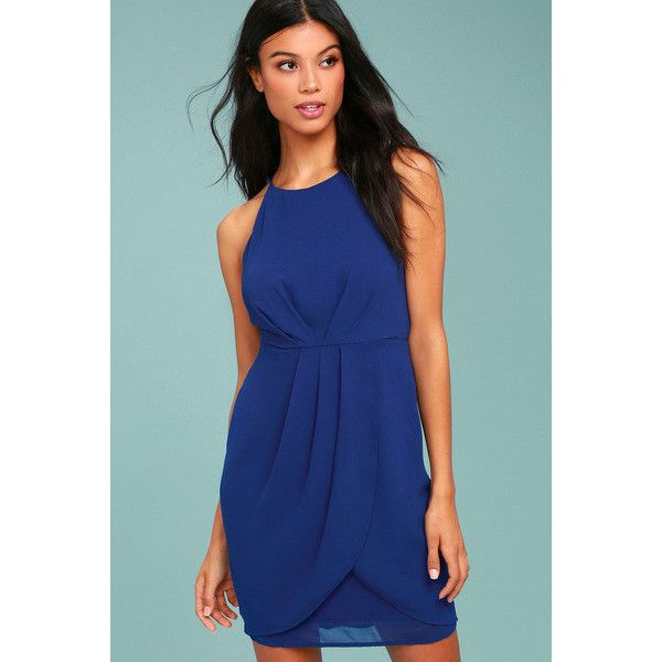 Lulus  Best Wishes Royal Blue Dress (1,075 MXN) ❤ liked on Polyvore featuring dresses, blue, royal blue evening dress, sleeveless dress, blue dress, royal blue color dress and electric blue dress