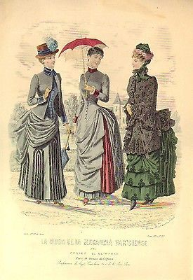GRAVURE de MODE AUTHENTIQUE-Q 38-MODE PARISIENNE-ROBES DE COUR-n°23-1884