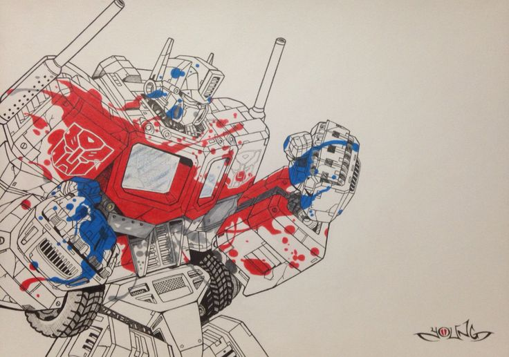 Optimus Prime  A3  Pen & Coloured Pencil