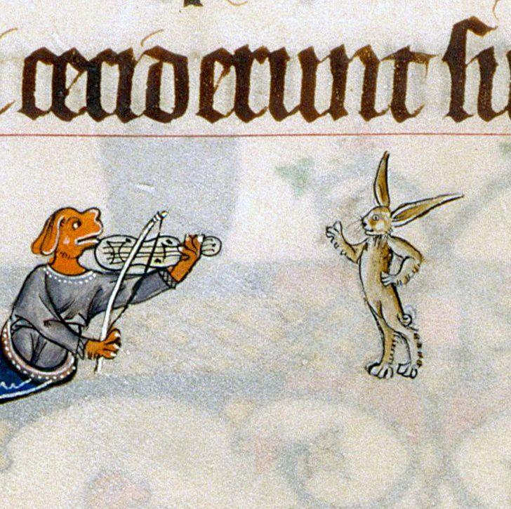 Dancing rabbit. Gorleston Psalter, England 14th century (British Library, Add 49622, fol. 86v)