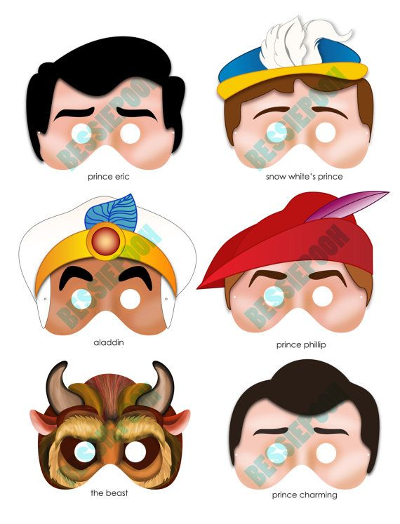 disney princess party printable mask collection includes all 6 prince masks photo booth prop - Disney Princess Art And Activity Collection