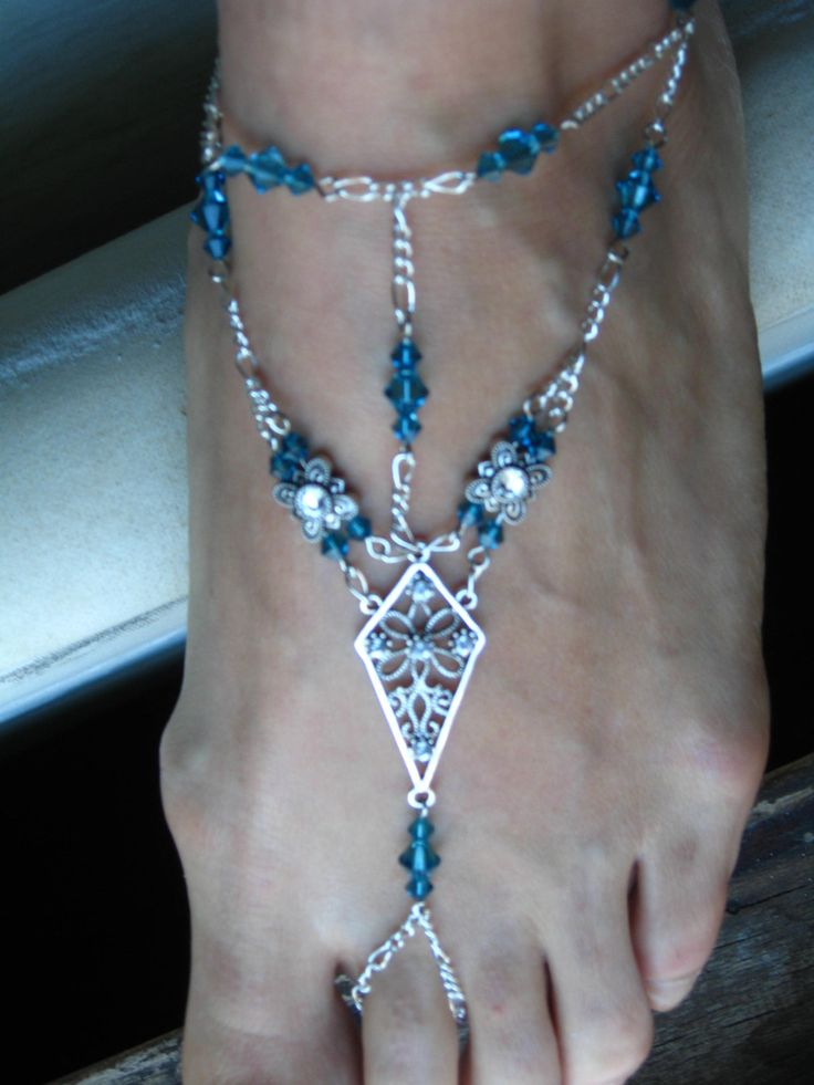 Slave Anklet Bare Foot Sandal Teal Indicolite and Clear Swarovski Crystals, Belly Dance, Burlesque, Renaissance. $35.00, via Etsy.
