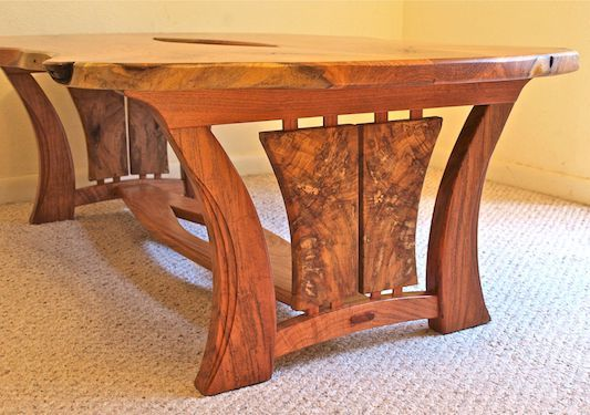 Handmade Live Edge Coffee Table In Mesquite & Texas Pecan