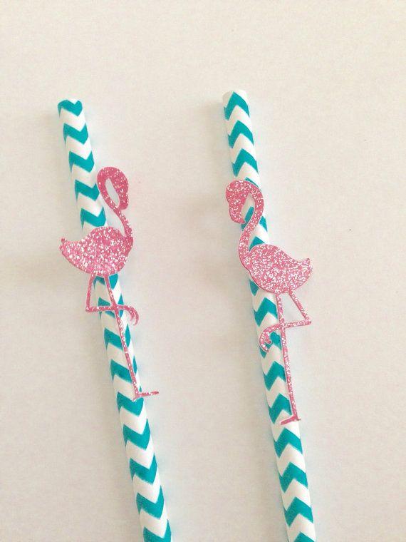Flamingo Paper Straws ~ Let's Flamingle Party Decor ~ Luau Party Decor ~ Pink Flamingo