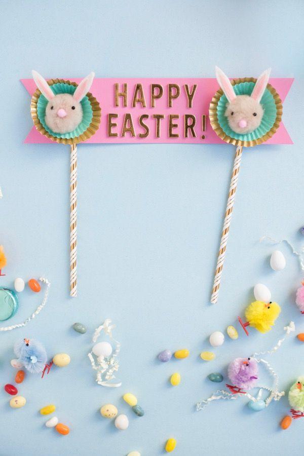 Pom Pom Easter Bunny Cake Topper DIY   Oh Happy Day!