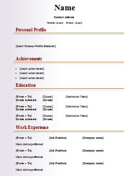 free curriculum vitae blank template httpwwwresumecareerinfo - Free Templates Resume