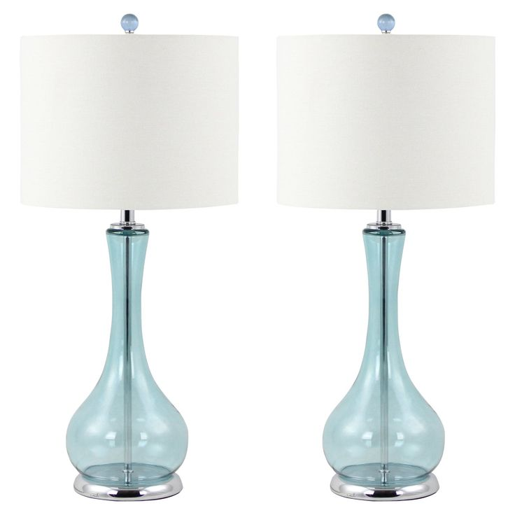 Aspire Home Accents Josie Table Lamp Set -  Ocean blue vase-shaped glass bases create a unique look for the Aspire Josie Table Lamp Set . This beautiful table lamp set works with traditional,...