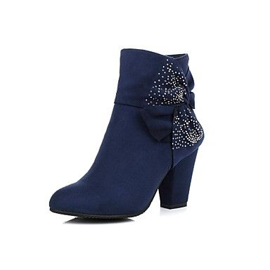 Women's Shoes Fashion Boots Chunky Heel Ankle Boots with Bowknot More Colors available – USD $ 34.99