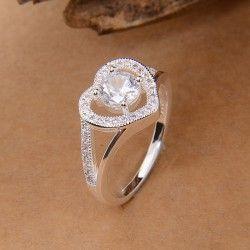 verzilverde ringen met hart ontwerp :sieraden verharde Tsjechische diamond
