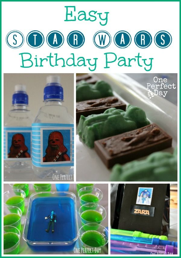 Lots of easy, and do-able food ideas for a Star Wars party. Love the birthday cake.
