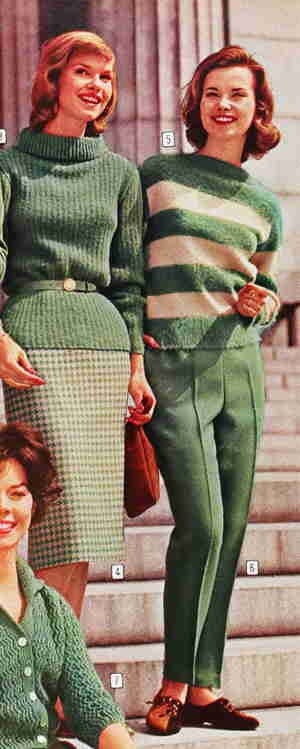 In the 60's women's apparel changed and became more like what women wear today. Dresses and skirts were sewn differently so that they would be more form-fitting and less loose. box shaped WDill