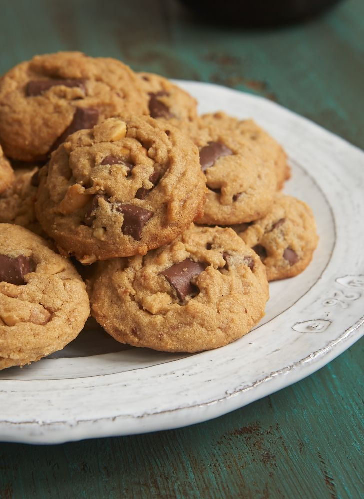 Peanut Butter Chocolate Chip Crunch Cookies take the classic peanut butter and chocolate flavor combination and add some crunch with peanuts and toffee.  - Bake or Break