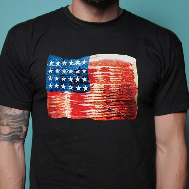 "Bacon Nation tee shirt. ""And I'm proud to be an American, who has much bacon to eat..."""