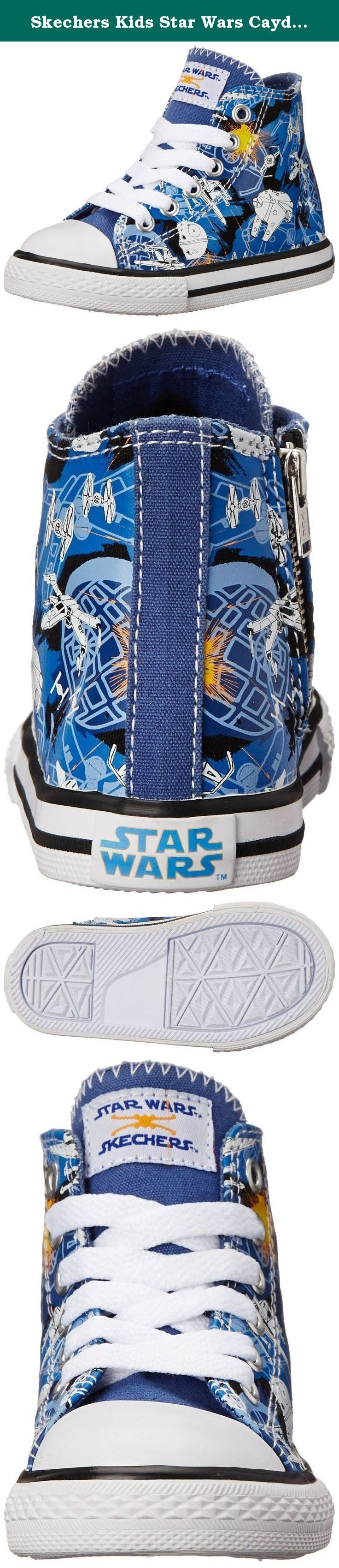 Skechers Kids Star Wars Cayden Starfighter Sneaker (Toddler) , Blue, 7 M US Toddler. Blast off for cool style with the SKECHERS Star WarsTM Cayden - Starfighter shoe. Soft woven canvas fabric upper in a lace up casual high top sneaker with stitching accents and overlay accents. Memory Foam insole.